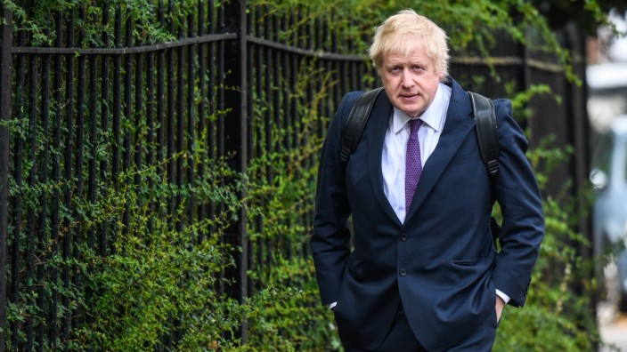 Candidate For The Conservative Party Leadership Boris Johnson Arrives At His Girlfriend's Home