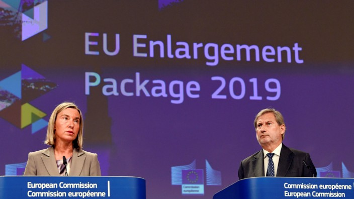 European Neighbourhood Policy and Enlargement Negotiations Commissioner Johannes Hahn and European Union Foreign Policy Chief Federica Mogherini present the Commission's Enlargement Package for 2019