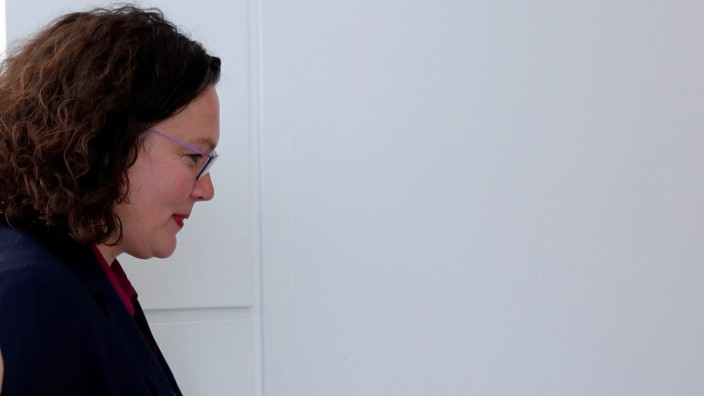 SPD party leader Andrea Nahles is pictured as she leaves a party faction meeting for a break at the lower house of parliament Bundestag in Berlin