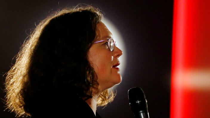 FILE PHOTO: German Social Democratic Party (SPD) leader Andrea Nahles delivers a speech during an election campaign rally in Heuchelheim