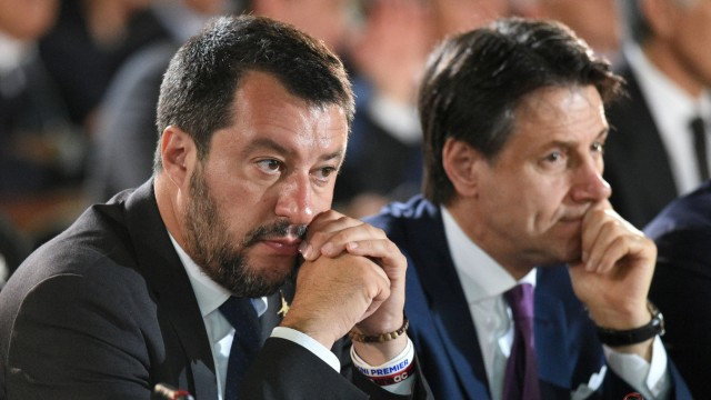 Italian Interior Minister Matteo Salvini and Italian Prime Minister Giuseppe Conte attend a commemoration ceremony to mark the anniversary of the assassinations of judges Giovanni Falcone and Paolo Borsellino, in Palermo