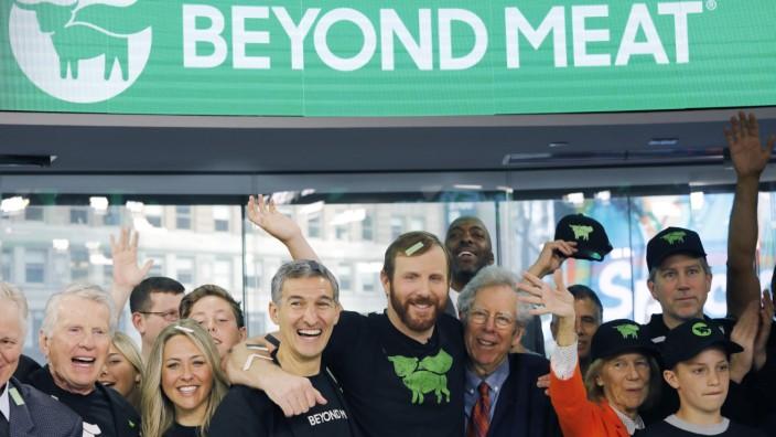 Beyond Meat - Mitarbeiter beim Börsengang 2019 in New York