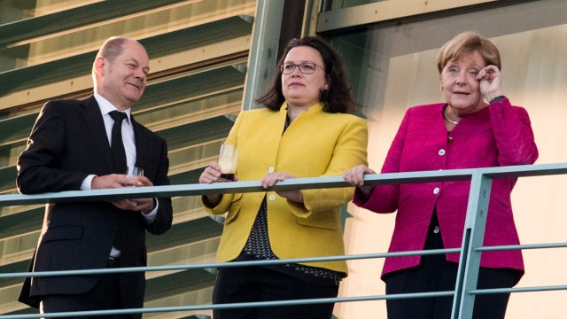 Olaf Scholz und Andrea Nahles (SPD) mit Angela Merkel (CDU) 2018 in Berlin