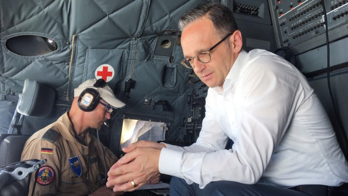 German Foreign Minister Heiko Maas sits in the C-160 Transall military plane at the airport in Baghdad