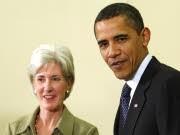US-Gesundheitsministerin Sebelius und Präsident Obama im Weißen Haus, Reuters