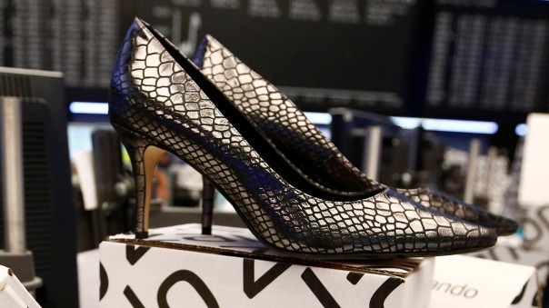 FILE PHOTO: Zalando shoes on display at the Frankfurt Stock Exchange on the day of its 2014 initial public offering