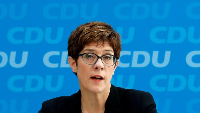 FILE PHOTO: CDU Chairwoman Kramp-Karrenbauer addresses a news conference at party headquarters in Berlin