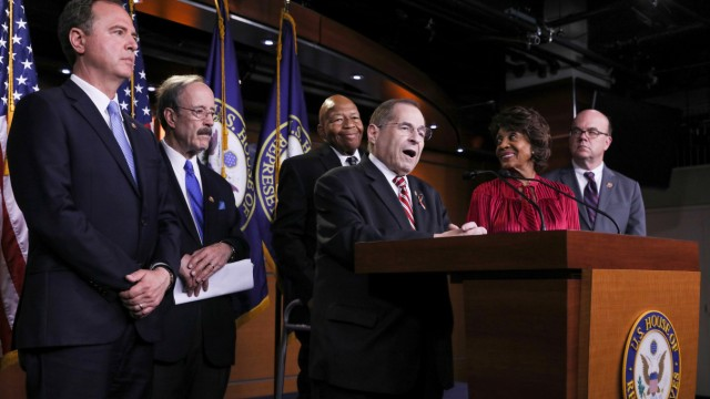 Democratic U.S. House committee chairmen Nadler, Engel, Cummings, Schiff, Waters and McGovern hold a news conference to discuss their investigations into the Trump administration on Capitol Hill in Washington