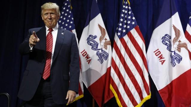 US-Präsident Donald Trump bei seinem Auftritt in Iowa