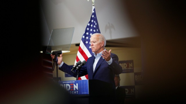 Democratic 2020 U.S. presidential candidate and former Vice President Joe Biden speaks at an event at the Mississippi Valley Fairgrounds in Davenport