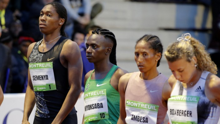 South African athlete Caster Semenya and Burundian Francine Niyonsaba at the start of a 2,000 metres at a small meetingin France