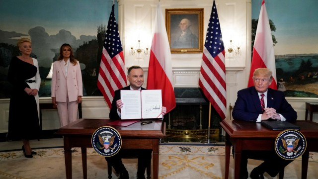 U.S. President Trump and Poland's President Duda participate in a joint signing ceremony at the White House in Washington
