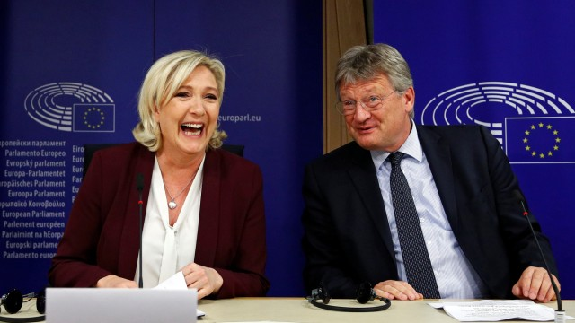 French far-right National Rally party leader Le Pen and German MEP Meuthen address a news conference at the EU Parliament in Brussels