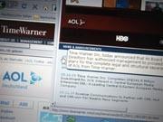 Time Warner gibt auf seiner Website die Trennung von AOL bekannt, Foto: dpa