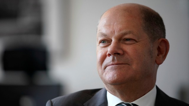 German Finance Minister Olaf Scholz is pictured in his office during an interview with Reuters in Berlin