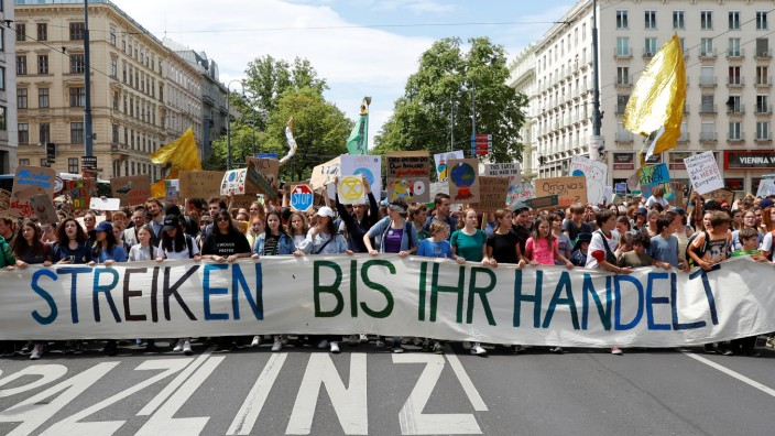 Demonstration calling for action on climate change in Vienna