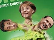Grünen, Wahlplakat, Europawahl, Mutanten, merkel, Sarkozy, Berlusconi