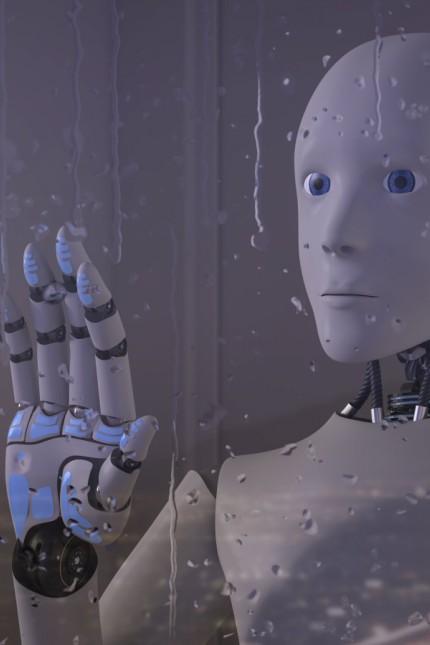 Robot looking out of rainy window PUBLICATIONxINxGERxSUIxAUTxHUNxONLY AHUF00307
