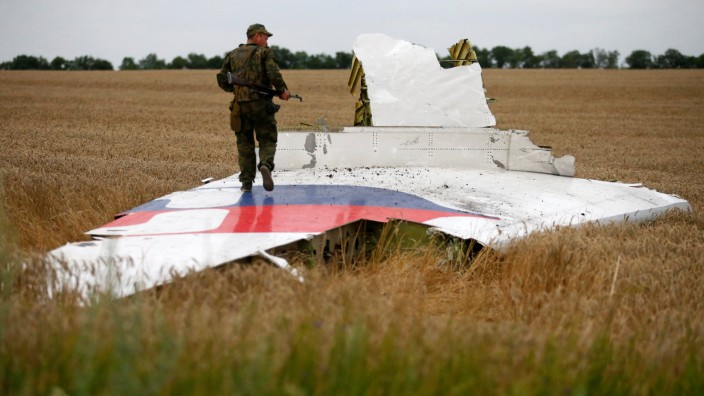 FILE PHOTO: Armed pro-Russian separatist stands on part of the wreckage of the Malaysia Airlines Boeing 777 plane after it crashed near the settlement of Grabovo in the Donetsk region