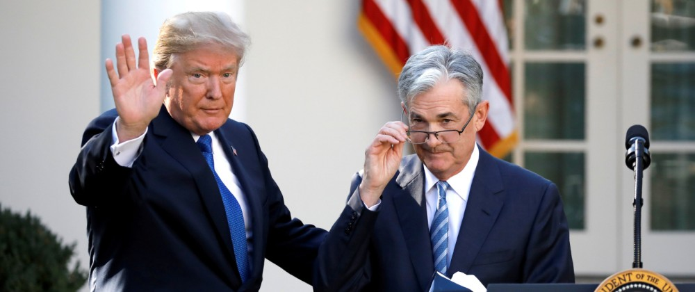 U.S. President Donald Trump gestures with Jerome Powell, his nominee to become chairman of the U.S. Federal Reserve at the White House in Washington