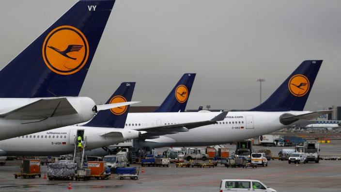 FILE PHOTO: Lufthansa planes at Fraport airport in Frankfurt