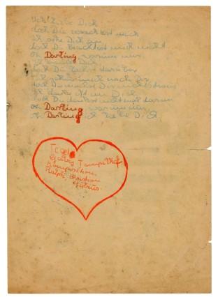Legende: Ein frühes Liebesgedicht auf der Rückseite eines Theaterzettels von Hoffmanns Comic Teater. Foto: DLA Marbach.
