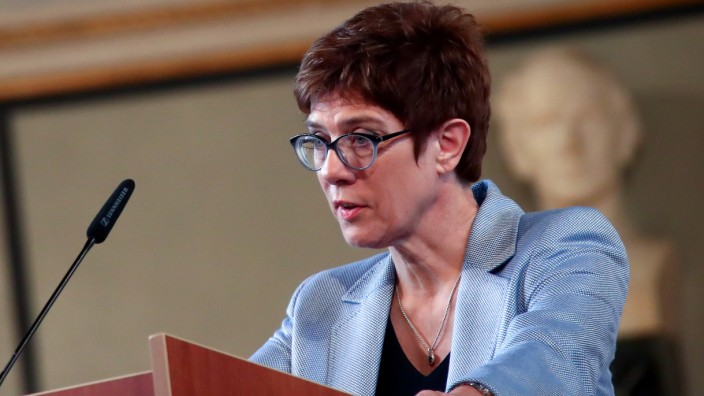 FILE PHOTO: Kramp-Karrenbauer, chairwoman of Germany's Christian Democratic Union (CDU), delivers a speech at the German Institute for Economic Research (Ifo) in Munich