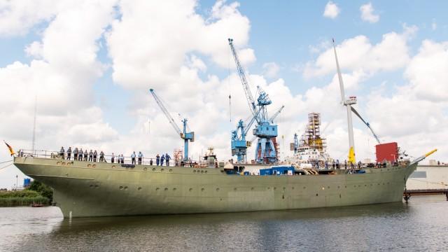 """Das Marine-Segelschulschiff """"Gorch Fock"""" 2019 während der Sanierung in Bremerhaven"""