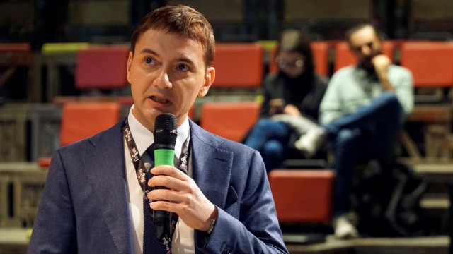 Luca Morisi speaks at a conference in Turin