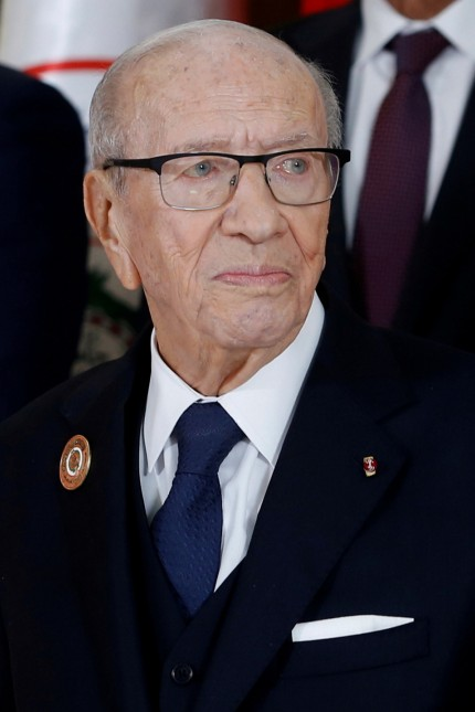 FILE PHOTO: Tunisia President Beji Caid Essebsi during a group photo with Arab leaders in Tunis