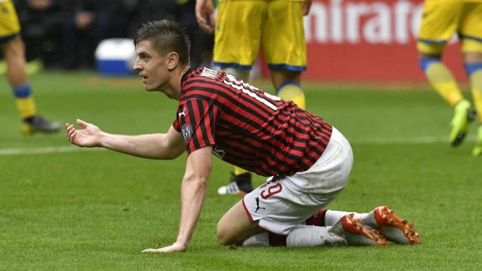 Krzysztof Piatek vom AC Mailand gegen Frosinone Calcio