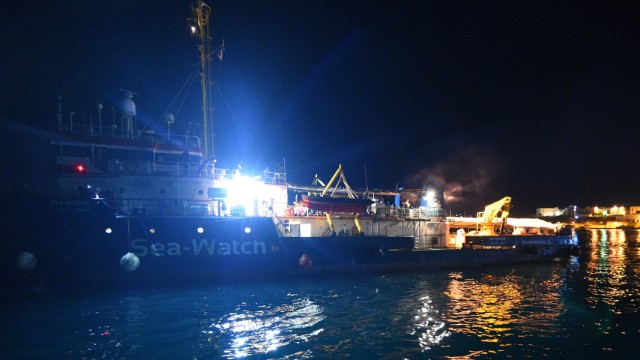 The Sea-Watch 3 rescue ship docks in Lampedusa
