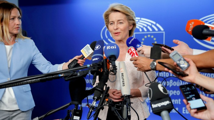 German Defense Minister Ursula von der Leyen, who has been nominated as European Commission President, attends a news conference during a visit at the European Parliament in Strasbourg