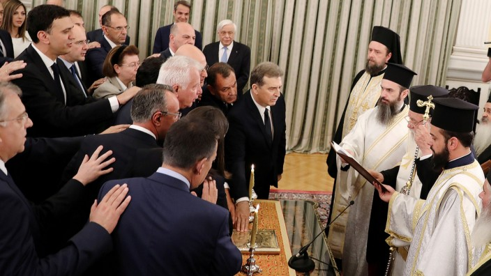 Swearing-in ceremony for Greek newly appointed ministers in Athens