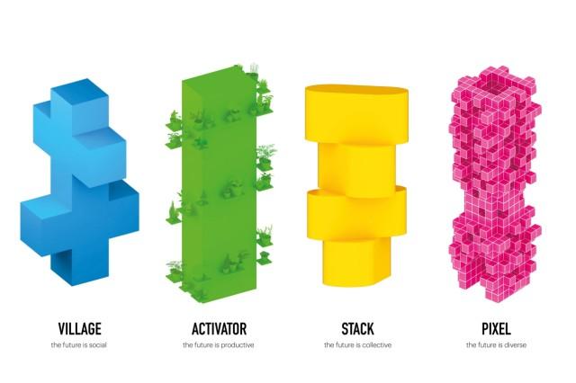 Ausstellungskonzept: Jeder dieser Türme verkörpert inhaltlich und formal ein zentrales Konzept der Ausstellung