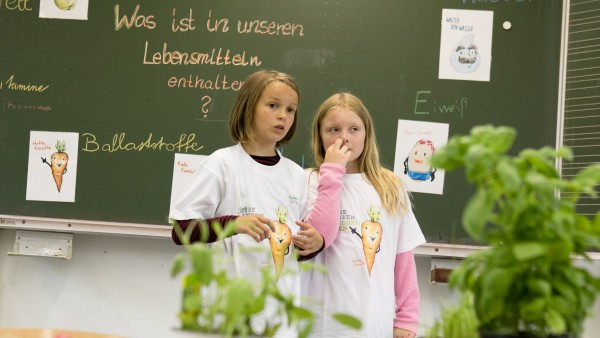 Die BayWa-Stiftung stellt im Rahmen eines Erlebnistags ihren neuen Ernährungskompass in der Grundschule an der Stuntzstraße 55 vor.
