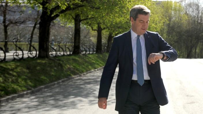 Markus Söder auf dem Weg zum Festakt 150 Jahre Technische Universität München, 2018