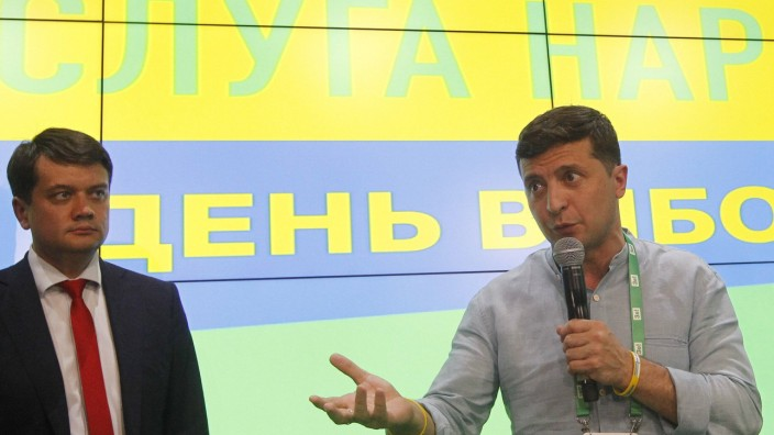 July 21 2019 Kiev Ukraine Ukrainian President Volodymyr Zelensky R and head of the Servant o