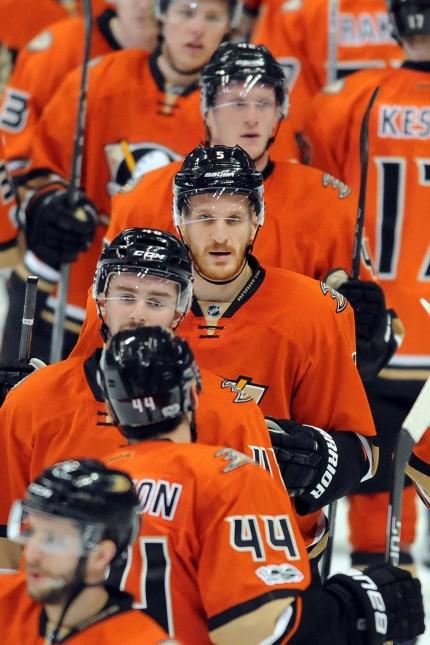 ANAHEIM CA JANUARY 31 Anaheim Ducks defenseman Korbinian Holzer 5 on the ice after the Ducks d; ice Hockey