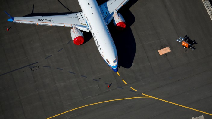 A grounded China Southern Airlines Boeing 737 MAX aircraft is seen parked at Boeing Field in Seattle