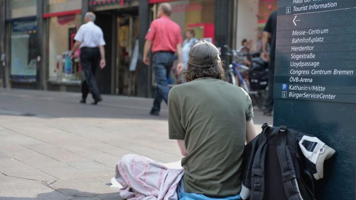 Ein Obdachloser in der Innenstadt von Bremen