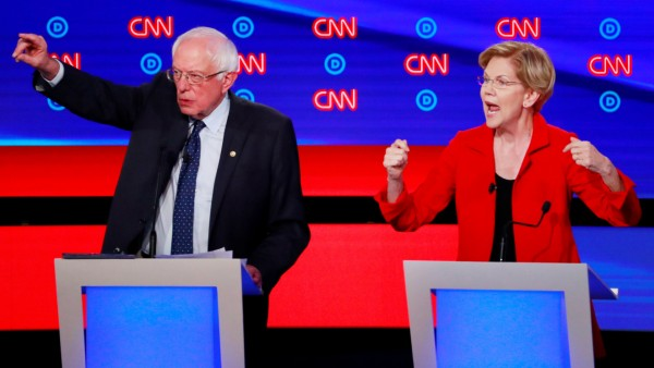 USA - Die Demokraten Bernie Sanders und Elizabeth Warren bei einer TV-Debatte