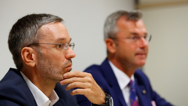 Head of FPOe Freedom Party Norbert Hofer and FPOe Freedom Party whip Herbert Kickl address the media during a news conference in Vienna