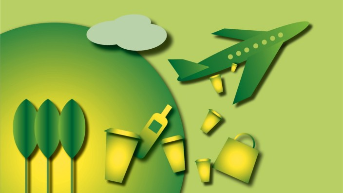 Nachhaltigkeit, Flieger, Müll