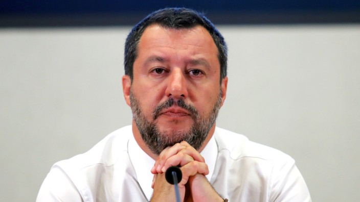 FILE PHOTO: Italy's Deputy PM Salvini addresses a news conference at Viminale Palace in Rome