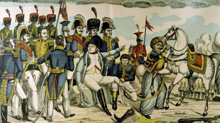 Die Verwundung Napoleons in der Schlacht von Regensburg ist Gegenstand verschiedener Kunstwerke - auch dieses französischen Holzschnitts.