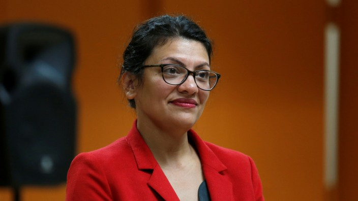 U.S. Congresswoman Tlaib listens to a question from a constituent in Inkster