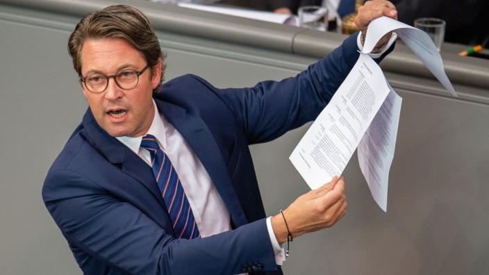 Bundesverkehrsminister Andreas Scheuer (CSU) im Deutschen Bundestag