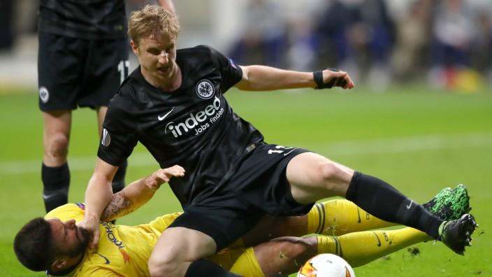 Eintracht Frankfurt v Chelsea - UEFA Europa League Semi Final : First Leg; Hinteregger
