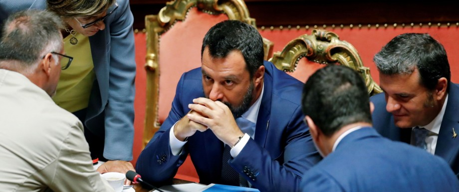 Italy's Interior Minister Salvini leaves listens after the result of the vote on the future of a contested Alpine rail link, at the Senate, in Rome